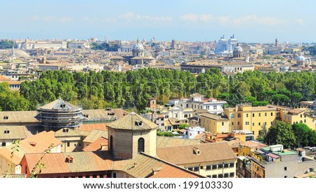 Aerial panoramic view of Rome in the sunny day. Italy