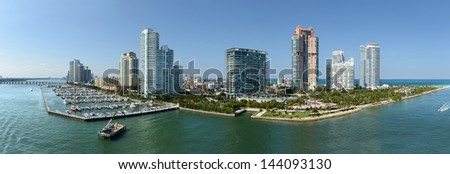 Aerial panoramic view of South Miami Beach during sunny day - Stitched from 5 images - stock photo