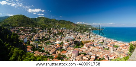 Aerial panoramic view of the Cefalu, Sicily, Italy. Province of Palermo. - stock photo