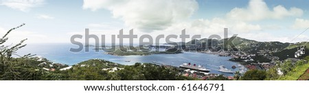 Aerial panoramic view of the  of St Thomas, USVI,carribean islands - stock photo
