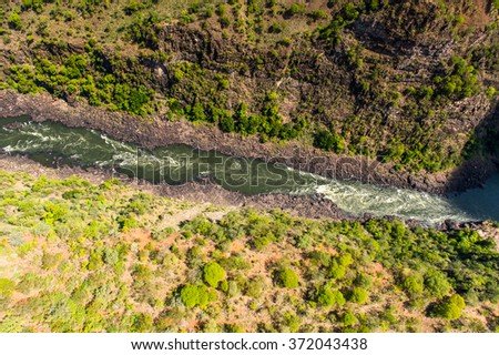Aerial panoramic view of the Zimbabwe, Africa