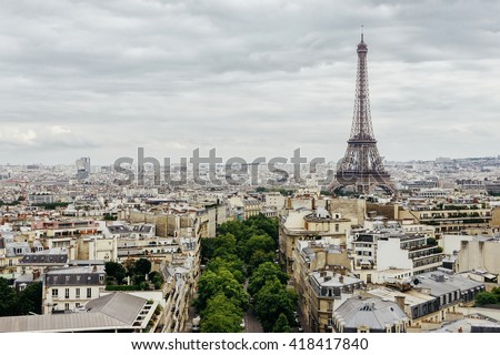 Aerial panoramic view on Eiffel Tower and historical part of Paris, France. Famous panoramic view of Paris from Triumphal arch. Paris scene. Paris. Eiffel tower view in Paris, France. Walking in Paris - stock photo