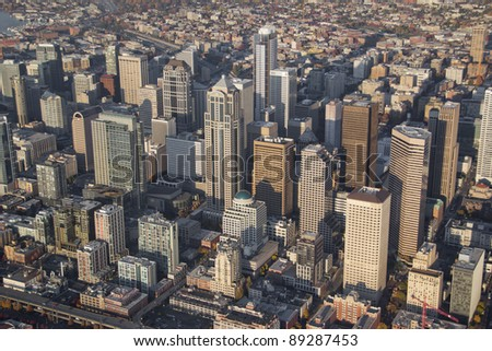 Aerial perspective of large skyscrapers in Seattle