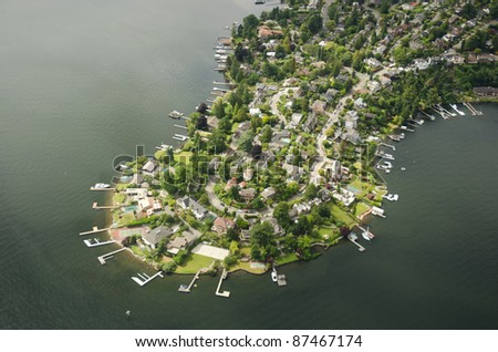 Aerial perspective of Webster Point, WA - stock photo