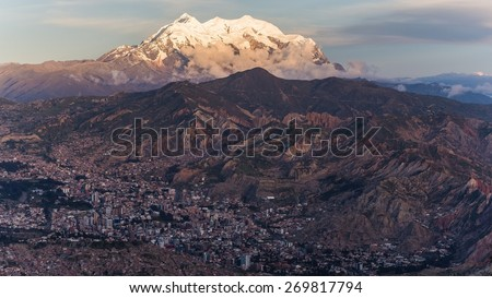 Aerial perspective on La Paz in Bolivia - stock photo