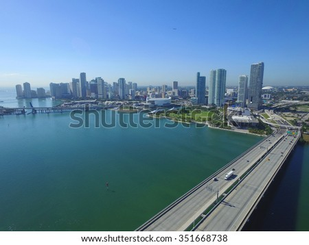 Aerial photo Downtown Miami and Macarthur Causeway - stock photo