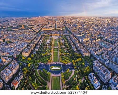 Aerial photo of a large city and a park. Champ-de-mars in Paris France. Photo taken from the Eiffel tower.