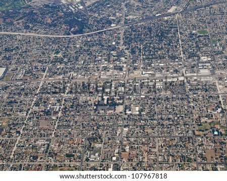 Aerial photo of downtown Pomona in Southern California, USA.