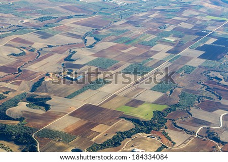 Aerial photo of Farmland - stock photo
