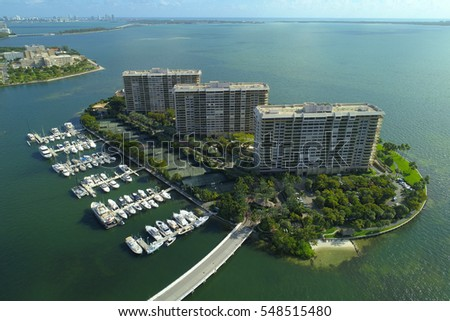 Aerial photo of Grove Isle condominiums Miami FL