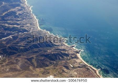 Aerial photo of Laguna Beach California and the Orange County coast. - stock photo