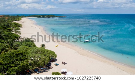 Aerial photo of Mengiat Beach in Nusa Dua south peninsula of Bali, with Blackstone beach off in the distance.