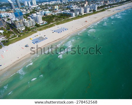 Aerial photo of Miami Beach and the ocean - stock photo