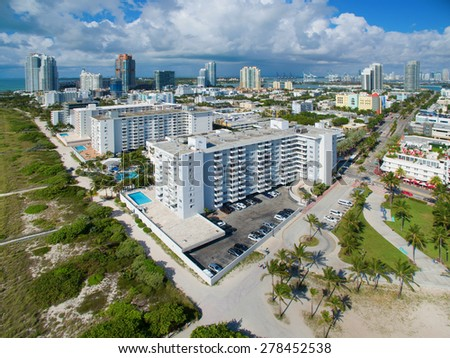 Aerial photo of Miami Beach architecture. Please visit my video gallery for great aerial videos of Miami Beach.  - stock photo