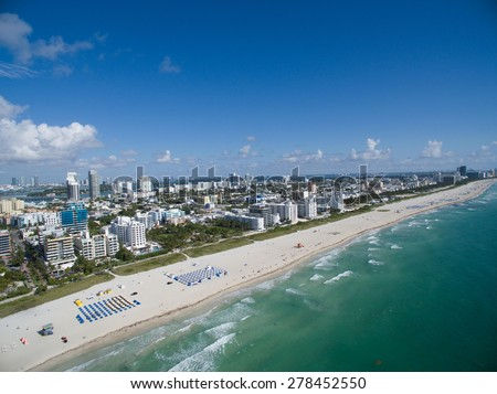 Aerial photo of Miami Beach landscape. Please visit my video gallery for great aerial videos of Miami Beach.  - stock photo