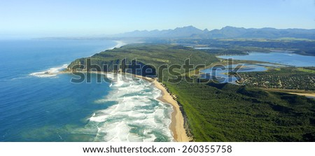 Aerial photo of Sedgefield, Garden Route, South Africa - stock photo