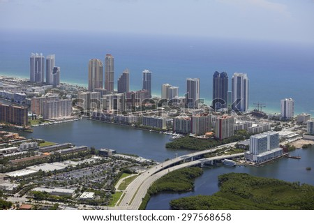 Aerial photo of Sunny Isles Beach FL - stock photo