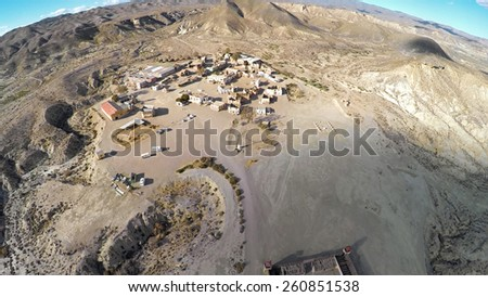 Aerial photo of the western movie town Fort Bravo. Texas Hollywood. Desierto de Tabernas, Almeria Andalusia. Spain. / STUNNING VIDEO AVAILABLE (UHD Quality) on my footage gallery. - stock photo