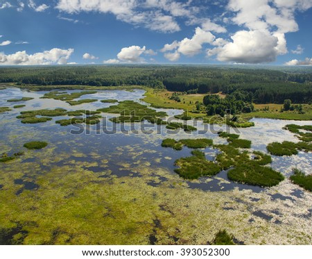 Aerial Photo. River view from above. - stock photo
