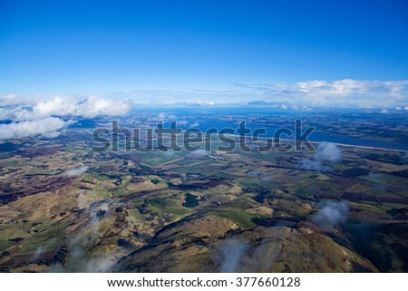 Aerial photo, taken during a flight over the lowlands of scottland in February.