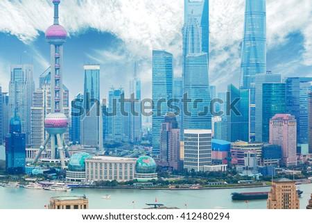 Aerial photography bird view at Shanghai bund Skyline - stock photo