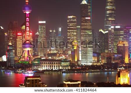 Aerial photography bird view at Shanghai bund Skyline of night scene - stock photo