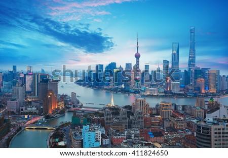 Aerial photography bird view at Shanghai bund Skyline of of dusk  - stock photo