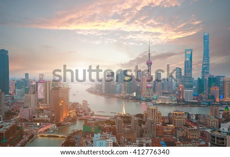 Aerial photography bird view at Shanghai bund Skyline of of sunrise