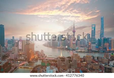 Aerial photography bird view at Shanghai bund Skyline of of sunrise - stock photo