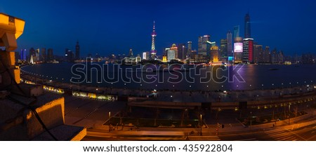 Aerial photography bird view at Shanghai bund Skyline of panorama night scene