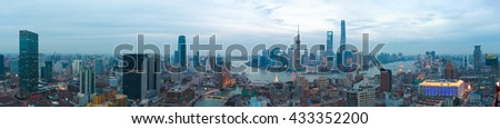 Aerial photography bird view at Shanghai bund Skyline of panorama of evening - stock photo