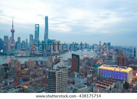 Aerial photography bird view at Shanghai bund Skyline of twilight - stock photo