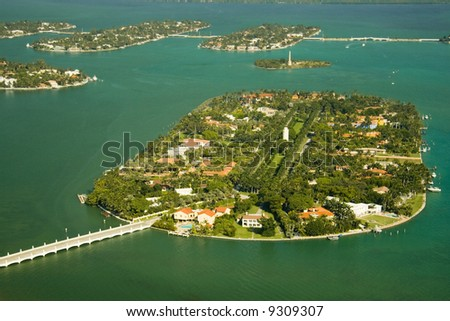 Aerial photography of the region of the islands close to South Beach - stock photo