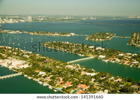 Aerial photography of the region of the islands close to the South Beach. - stock photo