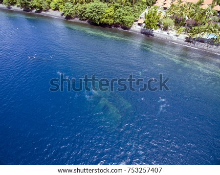 Aerial photos at the USAT Liberty Wreck  in Tulamben, Bali, Indonesia, a popular scuba diving destination.