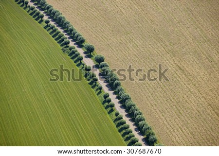 Aerial picture of a road in the Netherlands - stock photo