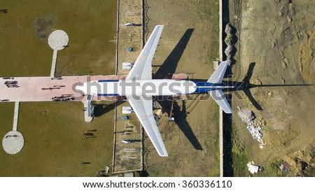 Aerial picture of Icelandair Boeing 757 at the Tekirdag - Turkey - stock photo