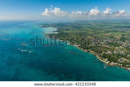 Aerial picture of Mauritius Island. North, north east coast of Mauritius.