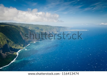 Aerial picture of part of Molokai island coast, Hawaii - stock photo