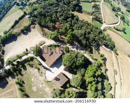 aerial rural view from Cardedeu, Catalonia - stock photo
