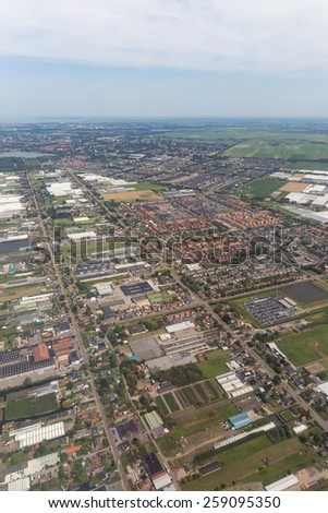 Aerial scene of the residential area at Amsterdam Schiphol Airport