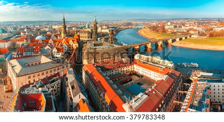 Aerial scenic panorama of the Old Town of Dresden: river Elbe with Augustus Bridge, Hofkirche and Royal Palace, Saxony, Germany - stock photo