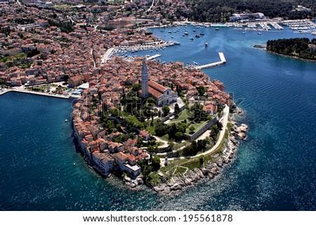 Aerial shoot of Old town Rovinj, Istra region, Croatia.  - stock photo