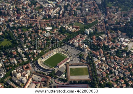 aerial shot, from a small plane, of city stadium for soccer in Bergamo  town, Lombardy , Italy