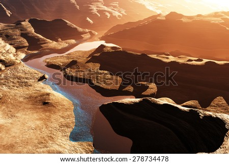 Aerial shot of a Canyon with a Natural Fault Drainage Basin Lake 3D Artwork Illustration - stock photo