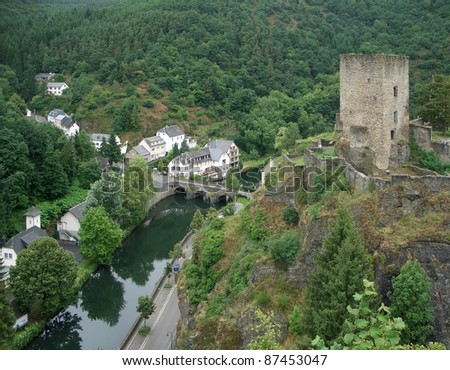 "aerial shot of a city named ""Esch sur Su00fbre in Luxembourg at summer time - stock photo"