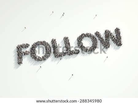 Aerial shot of a crowd of people forming the word 'Follow'. Concept for how people follow each other on social networks and social media channels, websites, chat rooms and news groups. - stock photo