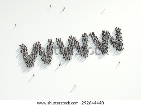Aerial shot of a crowd of people gather to form the WWW internet web address url. Concept for the high volume of people who connect to and use the digital space, social media and the internet. - stock photo