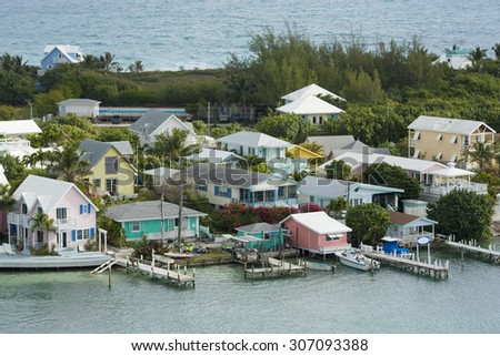 aerial shot of Caribbean architecture in Hopetown, Bahamas - stock photo