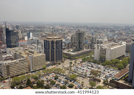 aerial shot of downtown Nairobi, Kenya and smog